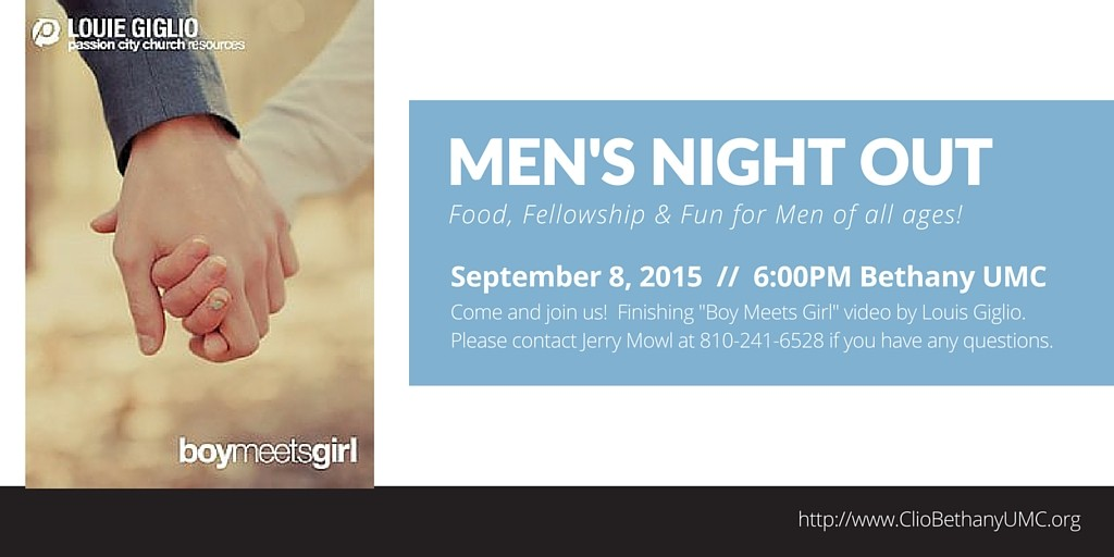 Men's Night Out Resumes September 8th
