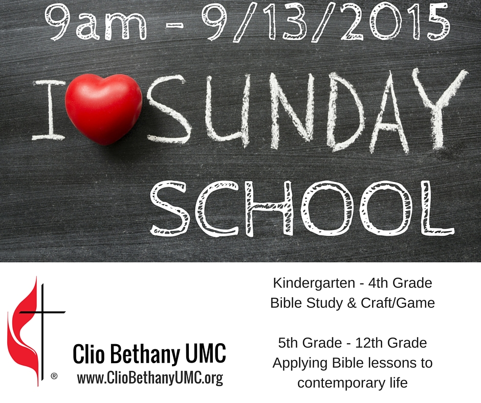 Reminder! Sunday School starting –  9am on 9/13/2015
