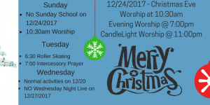 Christmas 2017 Worship Schedule