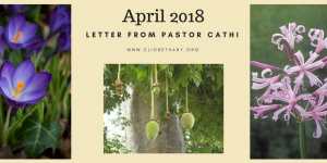 April 2018 – Letter from Pastor Cathi